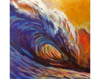 """Original Acrylic Miniature Painting, """"Sunset Barrel Wave"""""""