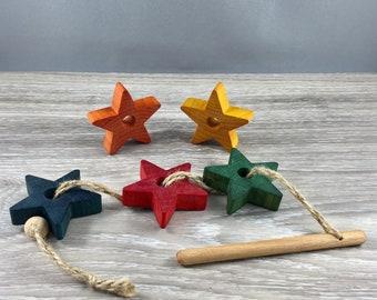 montessori, Steiner, waldorf, threading star game, wooden toy, non toxic, natural toy