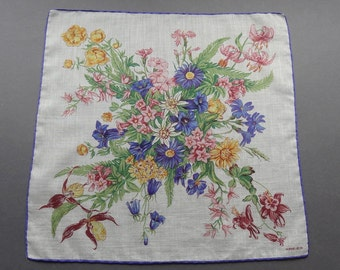 Swiss Kreier Wildflowers Theme Cotton Hankie Handkerchief