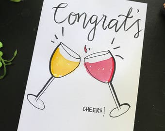 Celebration gift card 'congrats' watercolour hand painted