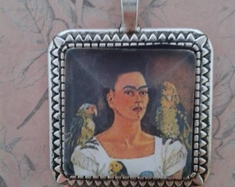 Frida Kahlo with Parrott Square Pendant