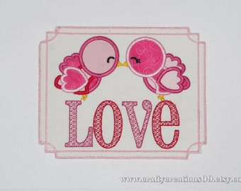 """Embroidered Iron On Applique """"Love Birds"""""""