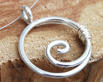 Aluminum Necklace. Spiral. Circle. Minimalist. Silver.  Wire Jewelry.