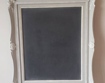 French Chalkboard Vintage Wall Decor Paris Grey White Ornate Regency Baroque Rectangular 21 X 26 Posh Wedding Shabby Cottage Decor