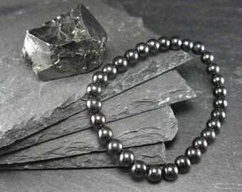 Shungite Genuine Bracelet ~ 7 Inches  ~ 6mm Round Beads