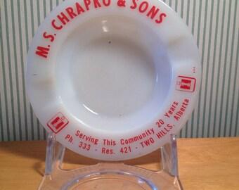 Vintage M S Chrapko and Sons Alberta Milk Glass Ashtray
