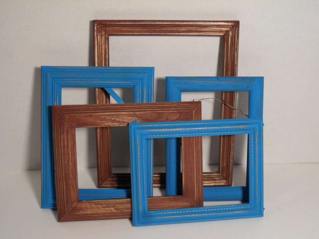 Playa rústica casa rural Aguamarina azul marrón Shabby Chic marco ...
