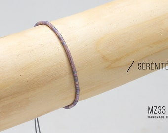 Delicate Handmade Sterling Silver bracelet with Mauve and Dark amethyst Miyuki beads - Boho - Handmade - Minimalist