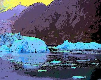 Alaska.  Ice  Canvas Wall art Pop Art print 31X18 photography landscape