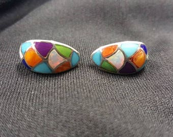Multi-stones Zigzag Design Post Earrings-sterling silver