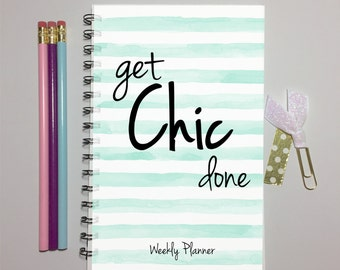 Planner, Weekly Planner, Spiral Planner, Daily Planner, Personalized Planner, 2016-2017, Student Planner, 2017 Planner, Get Chic Done, plan