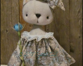 Farmhouse grey cat doll Whimsical woodland animal kitty spring summer cottage chic shabby primitive creepy cute Farm Quirky standing kitten