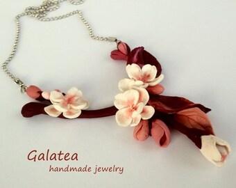 Sakura Necklace, Sakura jewelry, cherry blossoms jewel, romantic gift, necklace whit flowers, romantic jewelry, pink-white necklace