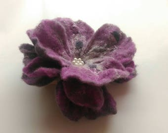 Purple Flower brooch, Felted brooch, Brooch pin and clip, Jewerly, Handmade, Unique, Hair Accessories