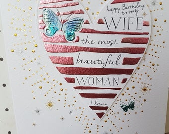 Beautiful wife birthday card, Butterfly pastel foiled the most beautiful woman I know wife card, Birthday card for a wife,