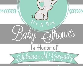 Elephant Baby Shower Invitation Digital File