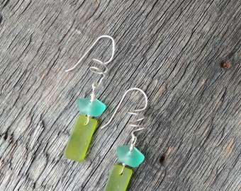 Recycled glass green blue aqua sterling silver dangle earrings