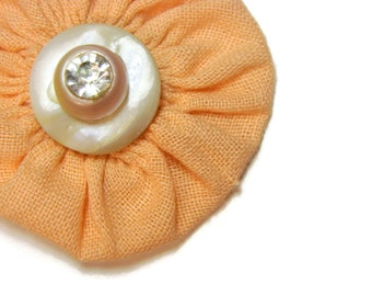 SALE Peachy Pearls & Diamonds Vintage Yo Yo Hairbow / Brooch Pin