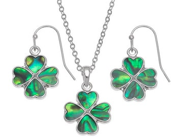 Green Paua Shell 4 leaf clover necklace and earring set -  Handcraft