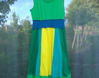 Upcycled Clothing/Dress/Recycled/EcoWear/Rainbow/Summer/Festival Clothing/BeachWear/Holiday/Boho Clothing/Women's Clothing/OOAK/Pride
