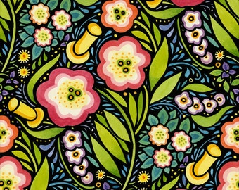 Julie Paschkis Four Seasons Spring Multicolored Fabric