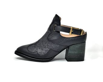Rose Leather Shoes- Pointy shoes - Women Shoes - Bootie for women-Black Leather Shoes -Slip on Shoes- Genuine Leather