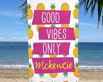 Good Vibes Only Personalized Beach Towel, pineapple, beach, pool, summer, microfiber, polyester, children, girls, swimming -gfyU1157433