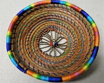 Rainbow Basket Rainbow Flower Pine Needle Basket Native American Pine Needle Coiled Basket For Her Basket For Teen Birthday Gift Home Decor