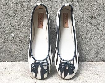 Ponyskin ballet shoes, zebra print ballet flats, ponyskin and genuine leather ballet shoes.