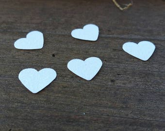Little White Glitter Hearts - Table Scatter confetti - Cardstock Hearts - .5 inch hearts - Wedding and Party Decoration