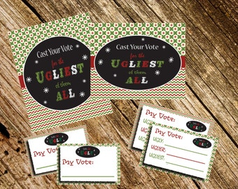 Fun Ugly Sweater 8x10 Signs & Vote Cards