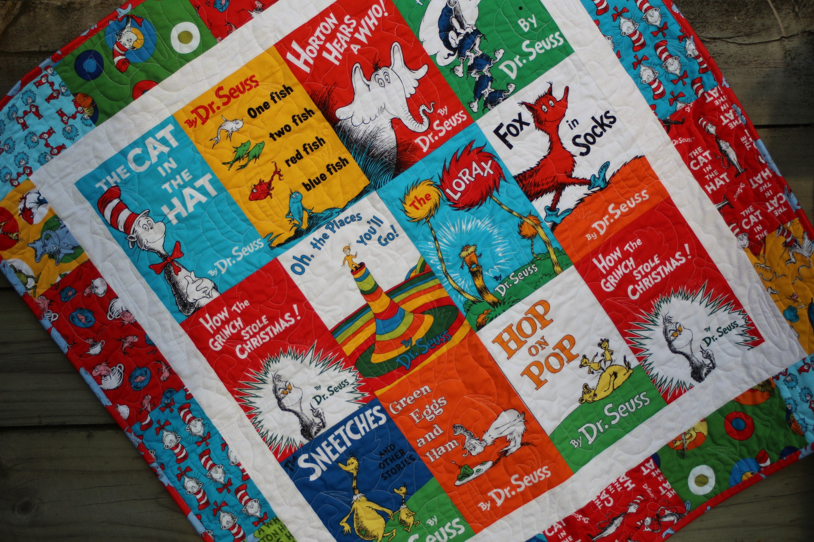 Baby Quilt Dr Seuss Book Titles Cat in the Hat Lorax Baby : dr suess quilt - Adamdwight.com