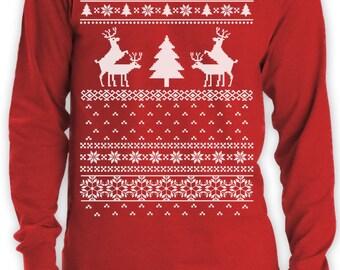 Triage de renne drôle Noël laid pull à manches longues T-Shirt homme