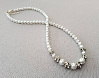 White Glass Pearl Necklace