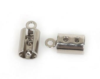 10 Pcs 1,2,3or4mm wide Cord Stainless Steel Crimp End Caps Buckle for Necklace (239)