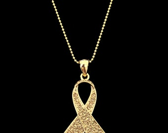 Crystal Gold Ribbon Bow Children Child Childhood Cancer Awareness Pendant Charm Necklace Gold Tone