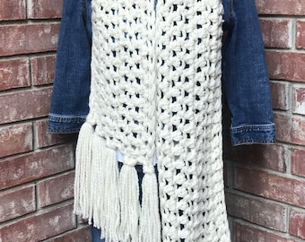 Chunky Warm Crochet Scarf - Ready to ship