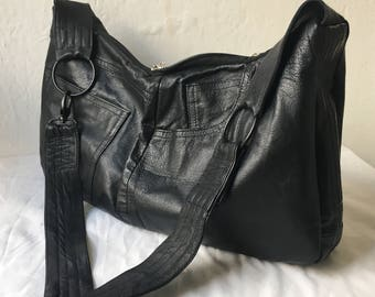 Black leather bag, recycled leather bag, leather pants, crossbody bag, hobo bag, leather bag, black leather, man bag, reloveduk