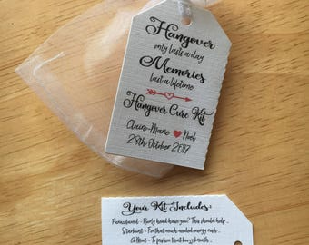 Hangover kit wedding favour tag thick double sided tag x15