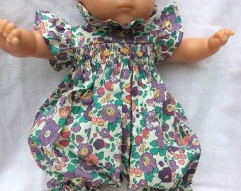 Liberty Betsy purple romper has smocking doll 36 cm