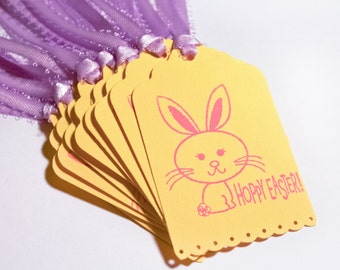 Bunny Hoppy Easter Tag Set 10 Blank holiday gift present tag yellow purple