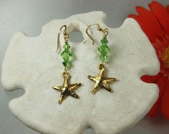 SALE Starfish Earrings, Peridot Crystal Starfish Earrings, Starfish Earrings