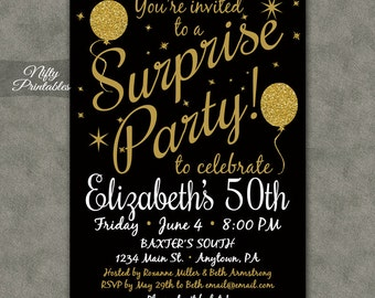 Surprise birthday invitation printable bday surprise party surprise party invitations printable black gold surprise birthday invites any age 21 30th 40th filmwisefo Images