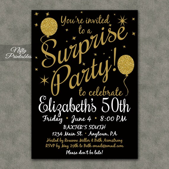 Surprise party invitations printable black gold surprise like this item filmwisefo Gallery