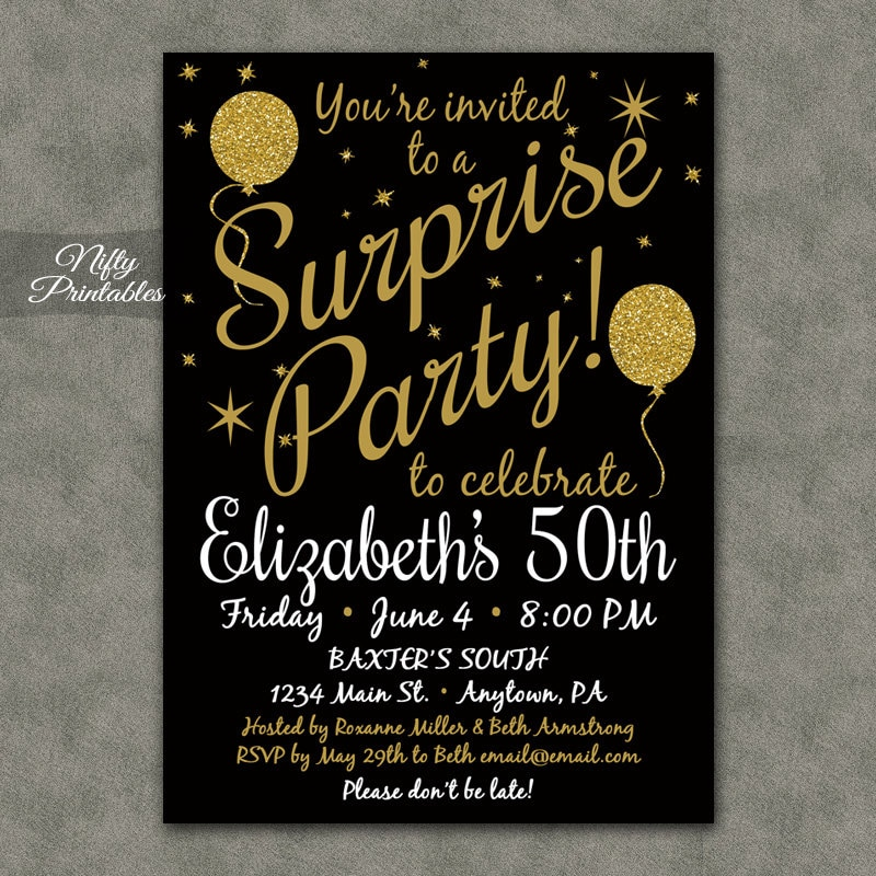 Surprise party invitations printable black gold surprise zoom filmwisefo Images