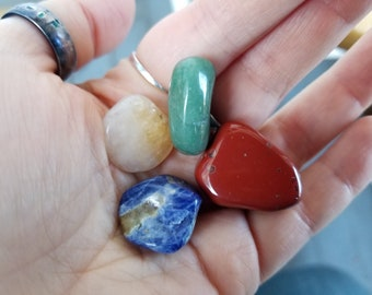 Elemental Crystal Set - 4 Elements Crystals in Pouch - Sodalite, Red Jasper, Citrine, and Green Aventurine