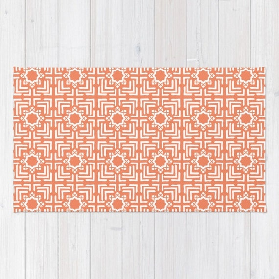 Orange Rug Tile Print 3x5 4x6 2x3 Area Rug Bath Mat Girls