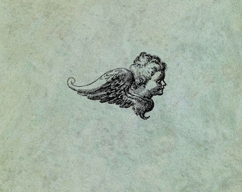 Winged Angel Cherub Side View SMALL - Antique Style Clear Stamp