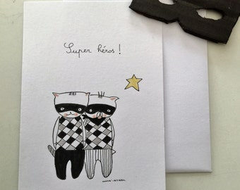 "Postcard for boy,  ""Choumi et Michou Super Héros"""
