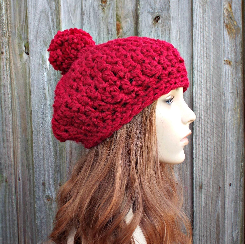 Dunkles blaugrün häkeln Hut rot Damenmütze Beanie Häkelmütze